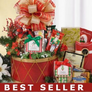 Festive Holiday Drum Gift Basket